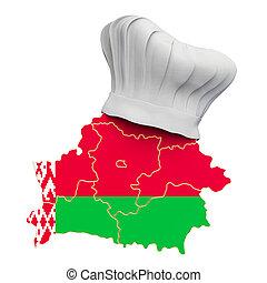 3d, interpretación, belarus., chef, mapa, concept., cocina, nacional, sombrero, belorussian