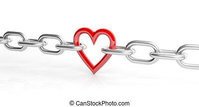 3d, interpretación, corazón, en, un, cadena, blanco, plano de fondo