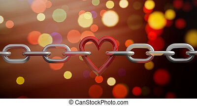 3d, interpretación, corazón, en, un, cadena, en, bokeh, plano de fondo