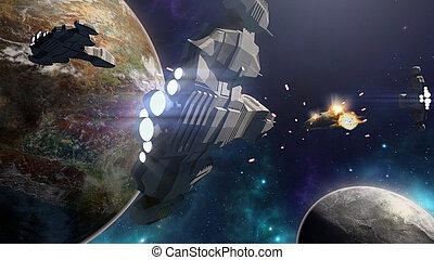 3d, interpretación, de, nave espacial, batalla, en, un, futurista, escena