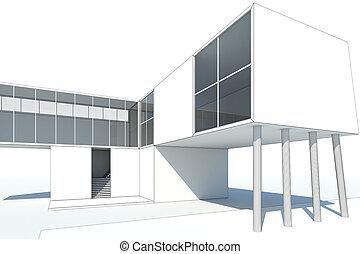 3d, interpretación, moderno, blanco, edificio, con, planos