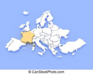 3d, interpretazione, di, uno, mappa, di, europa, e, francia