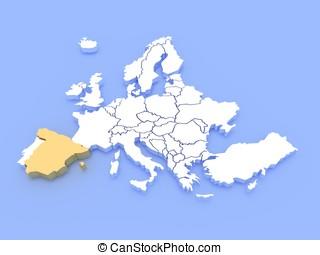 3d, interpretazione, di, uno, mappa, di, europa, e, spagna