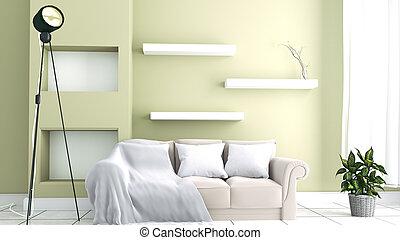 3d, interpretazione, stanza, sofa., giallo, vivente