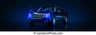 3d, interpretazione, states., limousine, unito