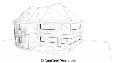 3d, interpretazione, wire-frame, di, house., bianco, fondo.