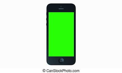 3D iPhone Presentation. - Green Screen Smartphone 4G Phone...