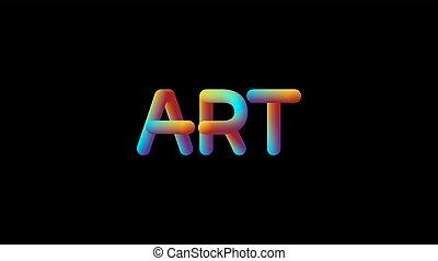 3d iridescent gradient Art sign.