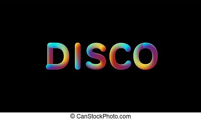 3d iridescent gradient Disco sign.