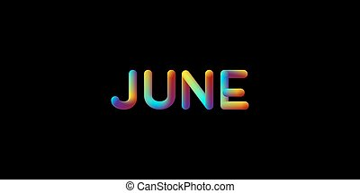 3d iridescent gradient June month sign