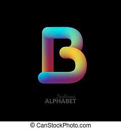 3d iridescent gradient letter B.