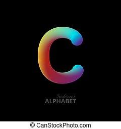 3d iridescent gradient letter C. Typographic minimalistic...