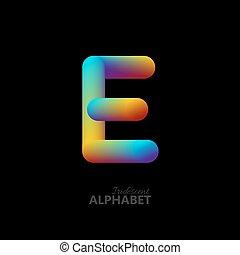 3d iridescent gradient letter E.