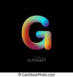 3d iridescent gradient letter G.