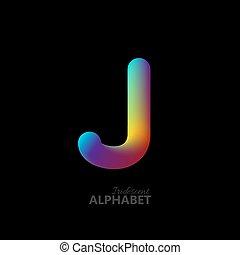 3d iridescent gradient letter J.