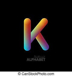 3d iridescent gradient letter K.