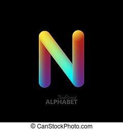 3d iridescent gradient letter N.