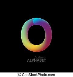 3d iridescent gradient letter O.