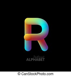 3d iridescent gradient letter R