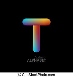 3d iridescent gradient letter T.
