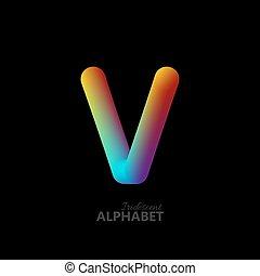 3d iridescent gradient letter V. Typographic minimalistic...