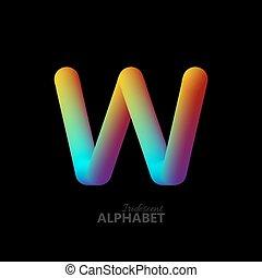 3d iridescent gradient letter W. Typographic minimalistic...