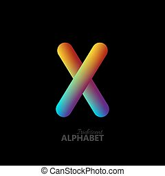 3d iridescent gradient letter X.
