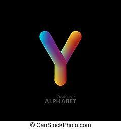 3d iridescent gradient letter Y.