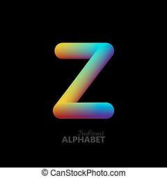 3d iridescent gradient letter Z. Typographic minimalistic...