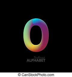 3d iridescent gradient number 0. Typographic minimalistic...
