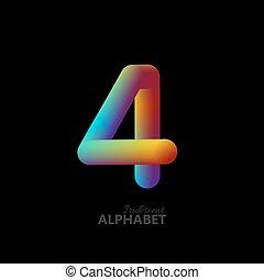 3d iridescent gradient number 4. Typographic minimalistic...