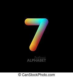 3d iridescent gradient number 7. Typographic minimalistic...