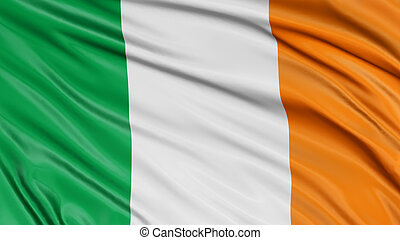 3D Irish flag with fabric surface texture.