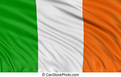 3D Irish flag with fabric surface texture. White background.