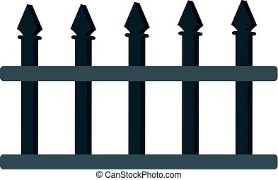 3D iron fence isolated on white background