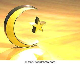 3D Islam Gold Sign