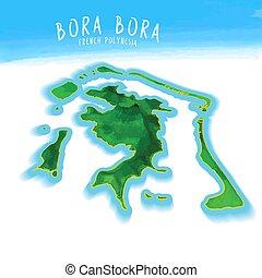 3D Island Map of Bora Bora Detailed vector illustration....