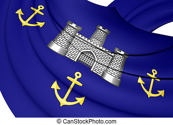 3D Isle of Wight Council Flag, England.