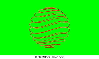 3d, isolé, render, sphère verte, résumé, arrière-plan.