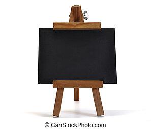 3d, isolado, quadro-negro, com, cavalete, (for, seu, text)