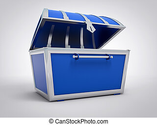 3D Isolated Blue Treasure Chest. Gold Pirate Abundance Concept.