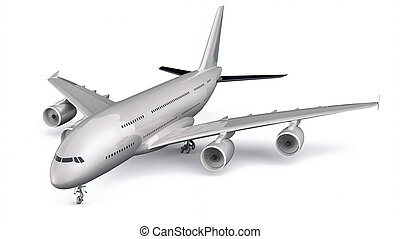 3D Isolated Commercial Plane