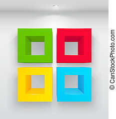 Empty colorful shelves - 3d isolated Empty colorful shelves...