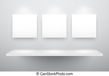 3d isolated Empty shelf for exhibit and three frames. Vector...