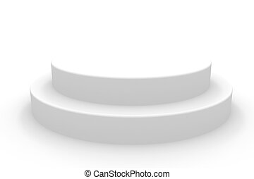3D isolated empty white podium. Computer generated image.