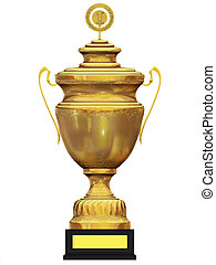 3d isolated golden trophy