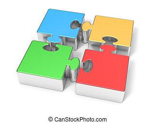 3D Isolated Jigsaw Pieces. Business Teamwork Progress Concept