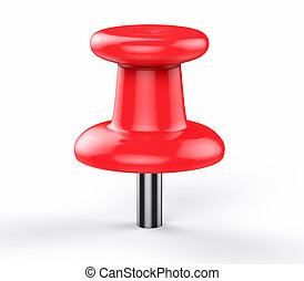 3D Isolated Red Pushpin. Business Memo Reminder Concept.