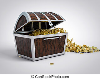 3D Isolated Treasure Chest. Gold Pirate Abundance Concept.