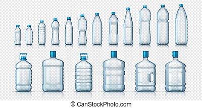 3d, isolato, realistico, vuoto, vettore, trasparente, liquidi, contenitore, fondo, o, plastica, set, bottles., advertising., acqua, mockups, bianco